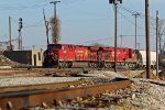 CP 8628 sits on a freight train in the kcs yard.